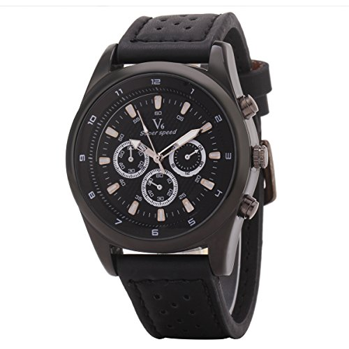 UNIQUEBELLA 3D Militaer Dial Lederband Sportuhr Analog Quartzuhr Armbanduhr Wristwatch Schwarz Schwarz