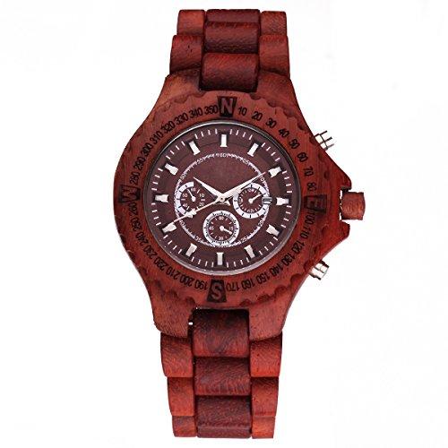 UNIQUEBELLA Holzuhr Date Armbanduhr Quarz Uhren Analog Datum aus Holz Sohn Freund Ehemann Geschenk Gift Watch 2