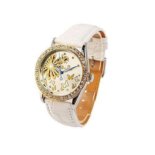 UNIQUEBELLA Elegant Damenuhr Automatik Mechanische Automatikuhr Leder Armbanduhr Uhr Sport Watch Geschenk WeissWeihnachten Geschenk Xmas Gift