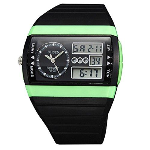 UNIQUEBELLA Armbanduhr OHSEN AD1305 Multifunktional LED Digitaluhr Analog Digital Klassisch Sportuhr Stoppuhr Alarmuhr Countdownuhr Nachtlicht DatumUhr Datumsanzeige Silikon Wasserdicht Gruen