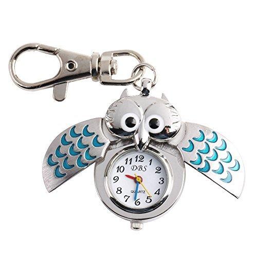 UNIQUEBELLA Eulen Schluessel Anhaenger Eule Uhr BlauTaschen Uhr Schluesselanhaenger silber Uhr Geschenk Xmas Gift Pocket watch