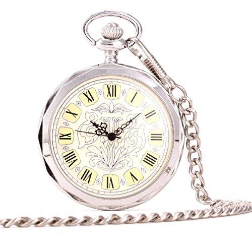UNIQUEBELLA Herren Damen Taschenuhr Handaufzug mechanische Taschenuhr Skelett Uhr Silber F193