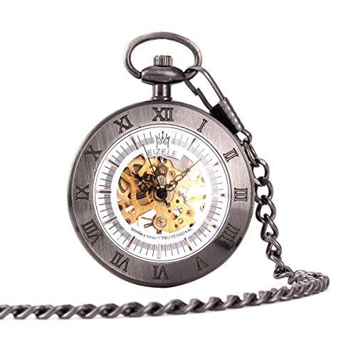 UNIQUEBELLA Herren Damen Taschenuhr Handaufzug mechanische Taschenuhr Skelett Uhr Schwarz F190