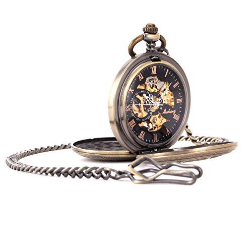 UNIQUEBELLA Herren Damen Taschenuhr Handaufzug mechanische Taschenuhr Skelett Uhr Bronze F191