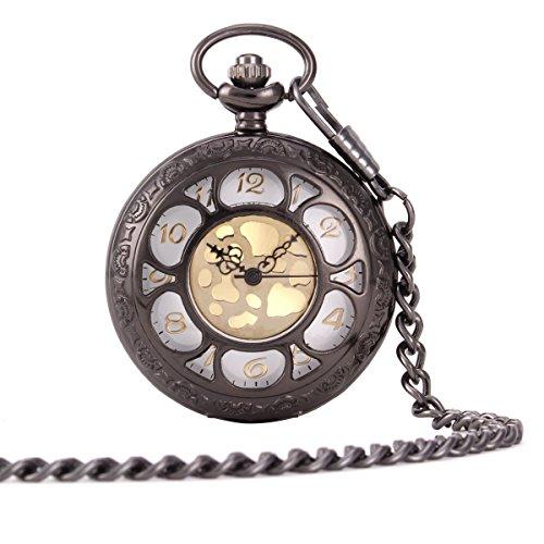 UNIQUEBELLA Herren Damen Taschenuhr Quarzuhr Kette Uhr Kettenuhr Umhaengeuhr Klassisch Vintage Mode Pocket Watch W145