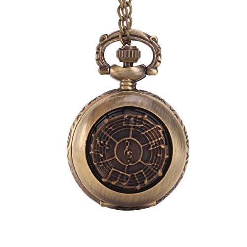 UNIQUEBELLA Herren Damen Taschenuhr Quarzuhr Kette Uhr Kettenuhr Umhaengeuhr Klassisch Vintage Mode Pocket Watch Note A0086