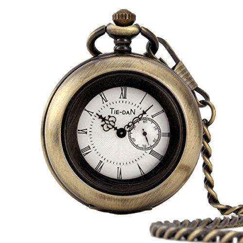 UNIQUEBELLA Herren Damen Taschenuhr Quarzuhr Kette Uhr Kettenuhr Umhaengeuhr Klassisch Vintage Mode Pocket Watch W146