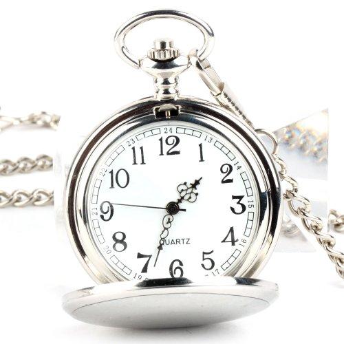 UNIQUEBELLA Taschenuhr Quarzuhr Herrenuhr Silber Taschen Uhr Quarz Uhr Herren Uhr