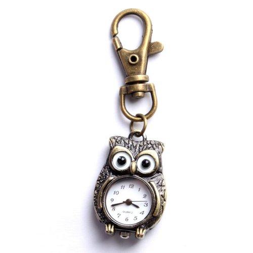 UNIQUEBELLA Eulen Uhr Quarz Taschenuhr Herren Damen Schluesselring Anhaenger Bronze Uhr Geschenk Xmas Gift Watch