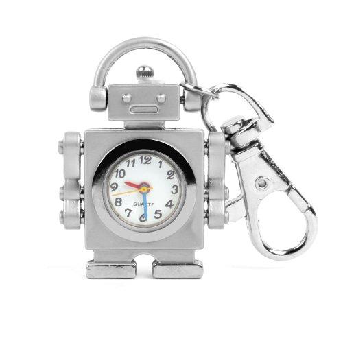 UNIQUEBELLA Robot Uhr Quarz Taschenuhr Herren Damen Schluesselring Anhaenger Silber Uhr Geschenk Xmas Gift Watch