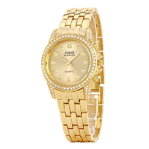 UNIQUEBELLE Luxus Ladies Dress Analog Quarz Edelstahl Armreifen Armkette Kristalle Watch Golden Gift