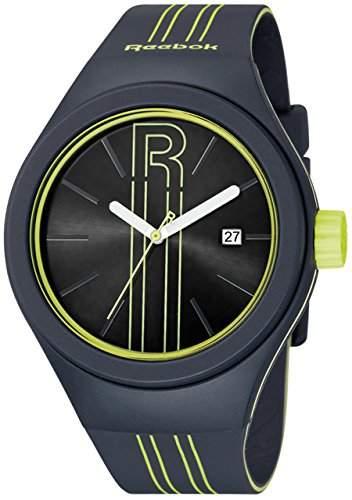 Symbol MenReebok Herren Quarzuhr mit schwarzem Zifferblatt Analog-Anzeige und Grau PU Strap RC-IRU-G3-PAIA AY -