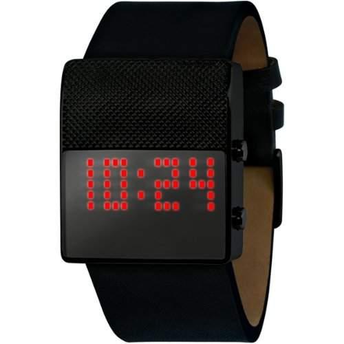 Black Dice Herren-Armbanduhr Digitaluhr mit schwarzem Zifferblatt Digital Display und Lederband schwarz BD 05605