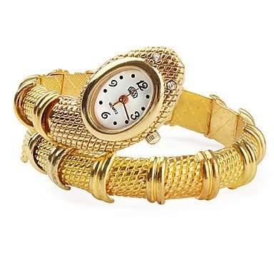 LZX Frauen gold Schlange Stil Legierung Quarz Analog Armbanduhr