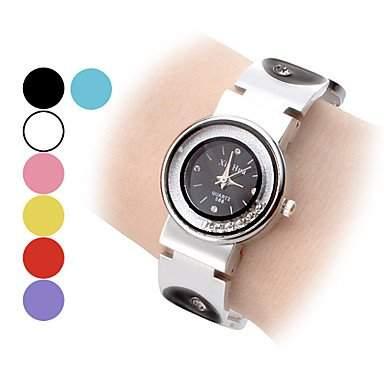 LZX Frauen Movable Diamond Dial Kreis Muster Steel Band Quarz Analog Armband Uhr verschiedene Farben , Gelb