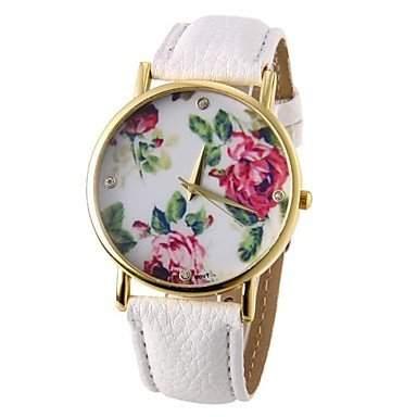 LZX Die Blumen-Muster PU-Band Quarz-Armbanduhr , Braun