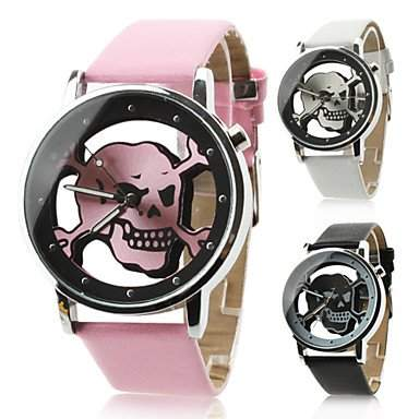 LZX Uhr mit Hohl Gravur, Totenkopf Motiv , Schwarz