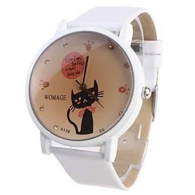 LZX Maedchen Uhr Mit Cartoon Katze, Weisses Armband