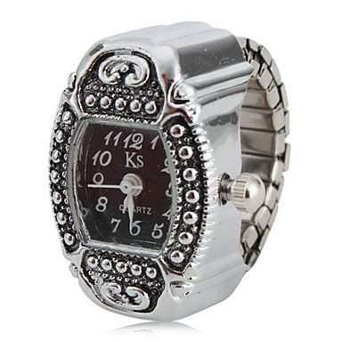 LZX Frauen-Artefakt Stil Legierung Analog Quarz Armbanduhr Ring Silber