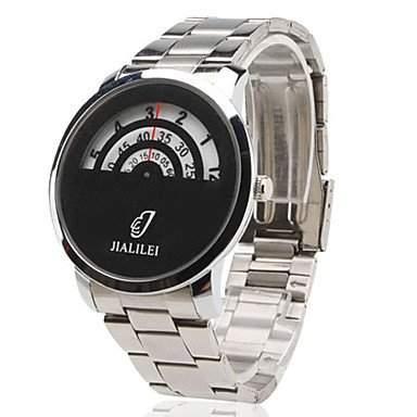 LZX Maenner aus Stahl analoge Quarz-Armbanduhr silber