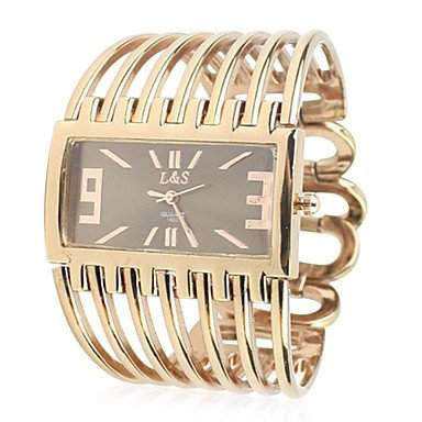 LZX Damen-Metal-Band Analog Quarz Armbanduhr mit rollenden Perlen Ornamentik Golden