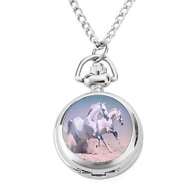 LZX Frauen-Legierung Analog Quarz Uhren Halskette mit Pferd silber
