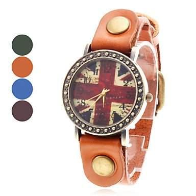 LZX Frauen ist der Union Jack Style Leder Analog Quarz-Armbanduhr farbig sortiert , Schwarz