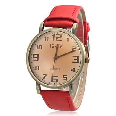 LZX Frauen runden Zifferblatt Weinlese-Kasten PU-Band Quarz Analog Armbanduhr verschiedene Farben , Rot