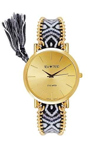 LZX Frauen goldenen Fallkette Stoffband Quarz Analog Armbanduhr farbig sortiert , Schwarz