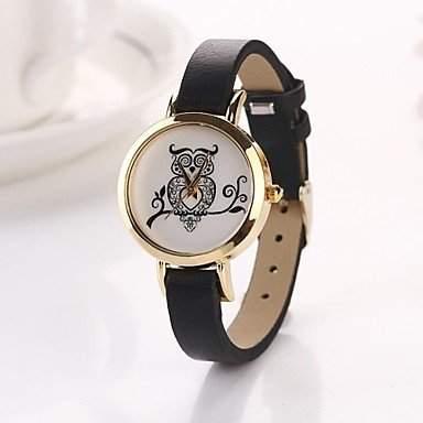 LZX Frauen Eule runden Zifferblatt Leder Quarz Armbanduhren Farbe sortiert c&D127 , Schwarz