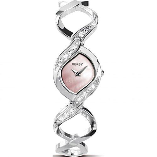 Seksy Stein Set Pink Mutter von Pearl Zifferblatt Edelstahl Armband 4502