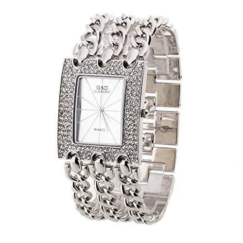 Damen Armreifen Uhr Armbanduhr Quarzuhr Armkette-Uhr Silber 3-reihig