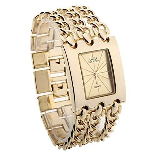 Damen Armreifen Uhr Armbanduhr Quarzuhr Armkette-Uhr Golden 3-reihig NEU