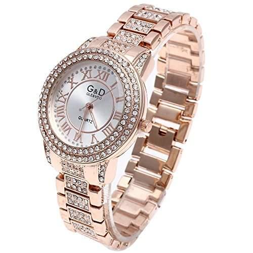 Armbanduhr Damen Armreifuhr Quarzuhr Armkette Uhr mit Strass Rosegold Modisch