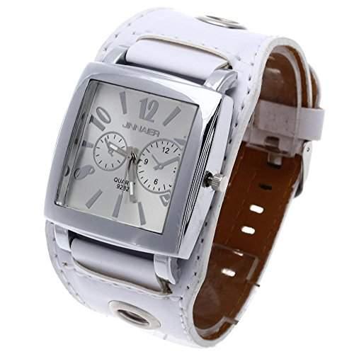 Damenuhr Damen Armbanduhr Quarzuhr Viereck Weiss Lederuhr Individuell