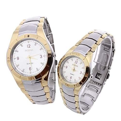 2x Uhr Armbanduhr Partneruhr Quarzuhren Damen Herren Quarzuhr Legierung Watch IN