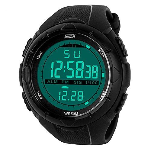 Rtimer Neue Art und Weise Maenner LED Digital Sportuhr Datum wasserdicht Gummi Sport Armbanduhr Schwarz