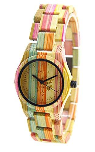 Rtimer BEWELL 100 Bambus Umweltfreundliche Handgemachte Natuerliche Holz Quarz Uhren Bunt