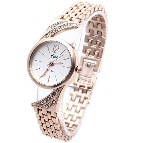 Strass Damenuhr Quarzuhr Armbanduhr Armreifuhr Armkette Watch Armband Rosegold
