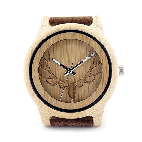 Rtimer Hhypoallergen Maenner Bambus Holz Uhren Handarbeit bequemes echtes Leder Geschenk Box