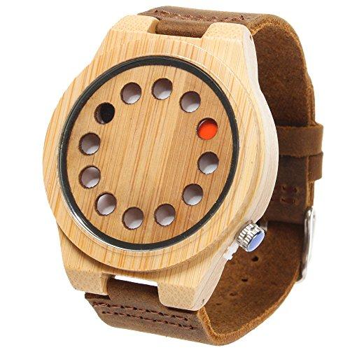 Rtimer Kreative Herren 12 Loecher Design Bambusholz Uhren braunen Lederband japanische Quarz Uhrwerk