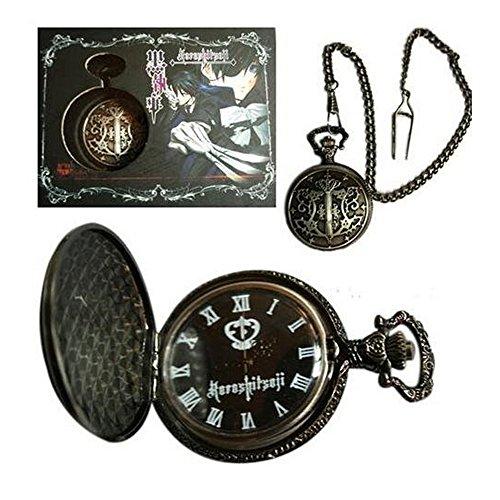 R timer Black Butler Kuroshitsuji haengende Halsketten Taschen Uhr mit Kasten