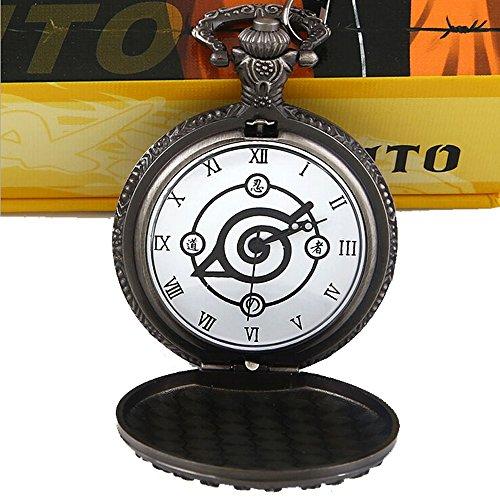 R timer Retro Anime Naruto Taschenuhr mit Kette in Geschenkbox als Geschenk