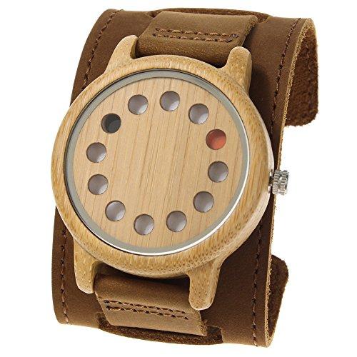 Rtimer Maenner Bambusholz Uhren 12 Loecher Design Japanische Quarz Uhrwerk Armband