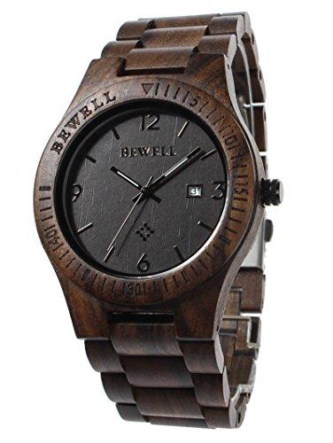 Rtimer Bewell Holz Mann Uhr analoge Quarz Uhrwerk mit Kalenderanzeige ebony wood