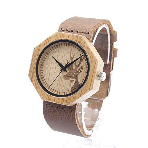 Rtimer Frauen Bambus Holz Uhren Deer Schaedel Entwurf mit braunem Lederarmband