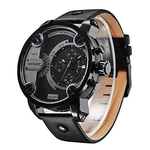R-timer Weide Fashion Brand Lederband Maenner Sportuhren Militaerquarz-Luxus-wasserdichte Armbanduhr schwarz