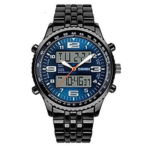 R-timer Herrenuhr Military Dual Time Zones Water Resistant mit Kalenderfunktion - Blau