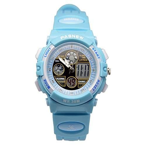R-timer Pasnew 30m wasserdichte Digital-Analog-Jungen-Maedchen-Sport Digitaluhr mit Alarm Stoppuhr Chronograph Kind 6 Farben Blau