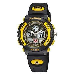 R-timer Pasnew 30m wasserdichte Digital-Analog-Jungen-Maedchen-Sport Digitaluhr mit Alarm Stoppuhr Chronograph Kind 6 Farben gelb